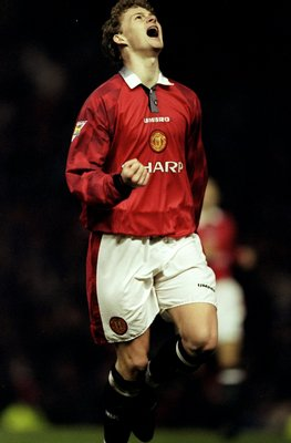21 Dec 1996:  Ole Gunnar Solskjaer of Manchester United celebrates during an FA Carling Premiership match against Sunderland at Old Trafford in Manchester, England. Manchester United won the match 5-0. \ Mandatory Credit: Mark  Thompson/Allsport