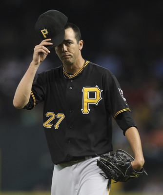 HOUSTON - JUNE 14:  PItcher Jeff Karstens #27 of the Pittsburgh Pirates reacts after being called for a balk in the fifth inning against the Houston Astros at Minute Maid Park on June 14, 2011 in Houston, Texas.  (Photo by Bob Levey/Getty Images)