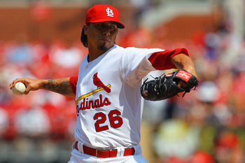 ST. LOUIS, MO - JUNE 4: Starter Kyle Lohse #26 of the St. Louis Cardinals pitches against the Chicago Cubs at Busch Stadium on June 4, 2011 in St. Louis, Missouri.  The Cardinals beat the Cubs 5-4 in 12 innings.  (Photo by Dilip Vishwanat/Getty Images)