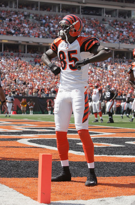 CINCINNATI - SEPTEMBER 17:  Wide receiver Chad Johnson #85 of the Cincinnati Bengals celebrates after scoring a touchdown against the Cleveland Browns on September 17, 2006 during the NFL game at Paul Brown Stadium in Cincinnati, Ohio. The Bengals won 34-