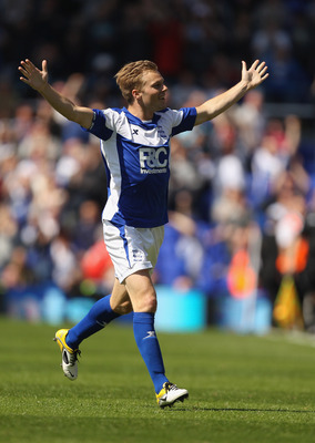 BIRMINGHAM, ENGLAND - MAY 01:  Seb Larsson of Birmingham City celebrates scoring a goal during the Barclays Premier League match between Birmingham City and Wolverhampton Wanderers at St Andrew's on May 1, 2011 in Birmingham, England.  (Photo by Ian Walto