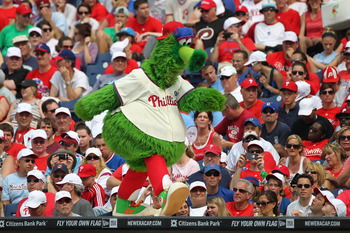 PHILADELPHIA - JUNE 12: The Phillie Phanatic performs during a game against the Chicago Cubs at Citizens Bank Park on June 12, 2011 in Philadelphia, Pennsylvania. The Phillies won 4-3. (Photo by Hunter Martin/Getty Images)