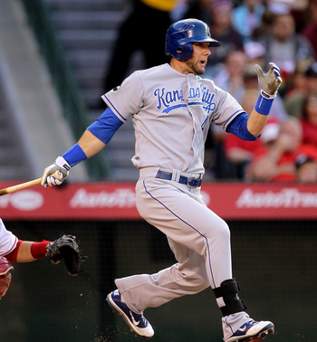 ANAHEIM, CA - JUNE 11: Alex Gordon #4 of the Kansas City Royals grounds out but picks up an RBI in the third inning against the Los Angeles Angels of Anaheim on June 11, 2011 at Angel Stadium in Anaheim, California.  (Photo by Stephen Dunn/Getty Images)