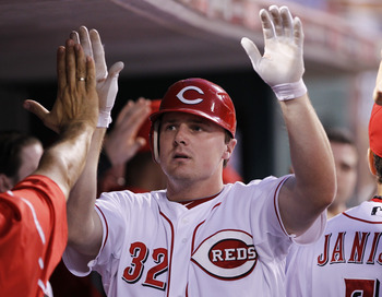 CINCINNATI, OH - JUNE 1: Jay Bruce #32 of the Cincinnati Reds celebrates with teammates after hitting a home run in the seventh inning against the Milwaukee Brewers at Great American Ball Park on June 1, 2011 in Cincinnati, Ohio. The Reds defeated the Bre