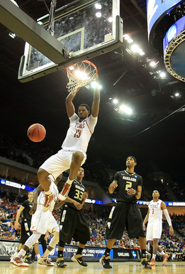 TULSA, OK - MARCH 18:  Tristan Thompson #13 of the Texas Longhorns dunks the ball against the Oakland Golden Grizzlies during the second round of the 2011 NCAA men's basketball tournament at BOK Center on March 18, 2011 in Tulsa, Oklahoma.  (Photo by Rona
