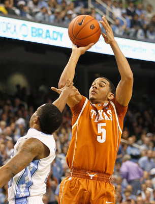 GREENSBORO, NC - DECEMBER 18:  Cory Joseph #5 of the Texas Longhorns shoots over Larry Drew II #11 of the North Carolina Tar Heels at Greensboro Coliseum on December 18, 2010 in Greensboro, North Carolina.  (Photo by Kevin C. Cox/Getty Images)