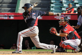 ANAHEIM, CA - JULY 11:  World Futures All-Star Francisco Peguero #33 of the San Francisco Giants at bat during the 2010 XM All-Star Futures Game at Angel Stadium of Anaheim on July 11, 2010 in Anaheim, California.  (Photo by Stephen Dunn/Getty Images)