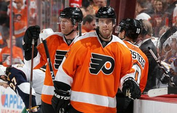 PHILADELPHIA, PA - MARCH 12:  Ville Leino #22 of the Philadelphia Flyers skates against the Atlanta Thrashers on March 12, 2011 at Wells Fargo Center in Philadelphia, Pennsylvania.  (Photo by Jim McIsaac/Getty Images)