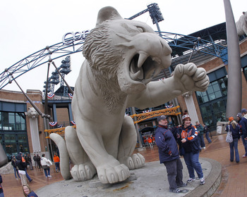 DETROIT, MI - APRIL 08:  Fans pose for a photo prior to the Detroit Tigers playing the Kansas City Royals during Opening Day at Comerica Park on April 8, 2011 in Detroit, Michigan. Detroit won the game 5-2.  (Photo by Gregory Shamus/Getty Images)
