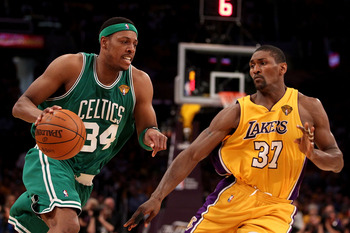 LOS ANGELES, CA - JUNE 17:  Paul Pierce #34 of the Boston Celtics drives past Ron Artest #37 of the Los Angeles Lakers in Game Seven of the 2010 NBA Finals at Staples Center on June 17, 2010 in Los Angeles, California.  NOTE TO USER: User expressly acknow