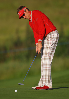 NEWPORT, WALES - MAY 30:  Ian Poulter of England makes a putt on the 4th green during the PowerPlay Ignition Golf on the Twenty Ten Course at the Celtic Manor Resort on May 30, 2011 in Newport, Wales.  (Photo by Matthew Lewis/Getty Images)