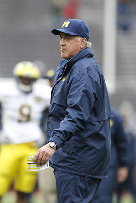 ANN ARBOR, MI - APRIL 16: Defensive Coordinator Greg Mattison watches the action during the annual Spring Game at Michigan Stadium on April 16, 2011 in Ann Arbor, Michigan.  (Photo by Leon Halip/Getty Images)