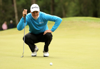 VIRGINIA WATER, ENGLAND - MAY 28:  Martin Kaymer of Germany lines up a putt during the third round of the BMW PGA Championship at the Wentworth Club on May 28, 2011 in Virginia Water, England.  (Photo by Ian Walton/Getty Images)