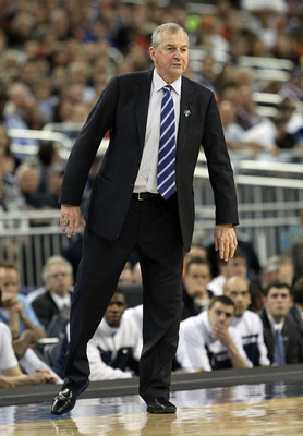 HOUSTON, TX - APRIL 04:  Head coach Jim Calhoun of the Connecticut Huskies gestures from the sidelines against the Butler Bulldogs during the National Championship Game of the 2011 NCAA Division I Men's Basketball Tournament at Reliant Stadium on April 4,