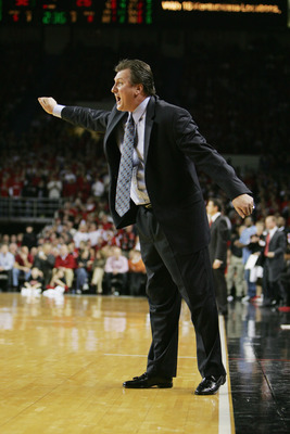 LOUISVILLE, KY - FEBRUARY 2:  Head coach Bob Huggins of the University of Cincinnati Bearcats reacts during the game against the University of Louisville Cardinals at Freedom Hall on Februrary 2, 2005 in Louisville, Kentucky.  The Bearcats won 77-70.  (Ph