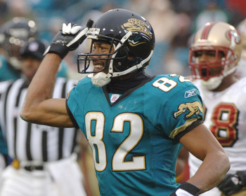 Jacksonville Jaguars wide receiver Jimmie Smith calls for a penalty against the San Francisco 49ers December 18, 2005 in Jacksonville. The Jaguars defeated the 49ers 10 - 9.  (Photo by Al Messerschmidt/Getty Images)