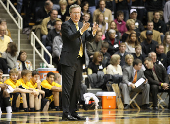 WEST LAFAYETTE, IN - JANUARY 09:  Head coach Fran McCaffery of the Iowa Hawkeyes coaches during the Big Ten Conference game against the Purdue Boilermakers at Mackey Arena on January 9, 2011 in West Lafayette, Indiana.  (Photo by Andy Lyons/Getty Images)