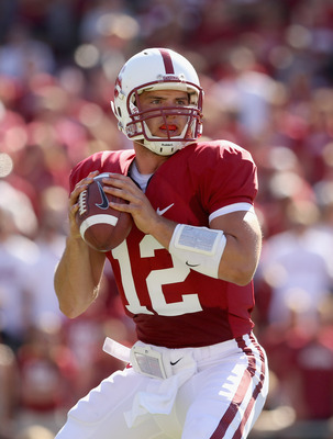 PALO ALTO, CA - SEPTEMBER 04:  Andrew Luck #12 of the Stanford Cardinal drops back to pass the ball during their game against the Sacramento State Hornets at Stanford Stadium on September 4, 2010 in Palo Alto, California.  (Photo by Ezra Shaw/Getty Images