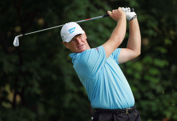 DUBLIN, OH - JUNE 03:  Ernie Els of South Africa hits his tee shot on the 14th hole during the second round of the Memorial Tournament presented by Nationwide Insurance at the Muirfield Village Golf Club on June 3, 2011 in Dublin, Ohio.  (Photo by Scott H