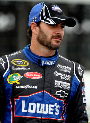 LONG POND, PA - JUNE 11: Jimmie Johnson, driver of the #48 Lowe's Chevrolet waits on pit road during qualifying for the NASCAR Sprint Cup Series 5-Hour Energy 500 at Pocono Raceway on June 11, 2011 in Long Pond, Pennsylvania.  (Photo by Jerry Markland/Get