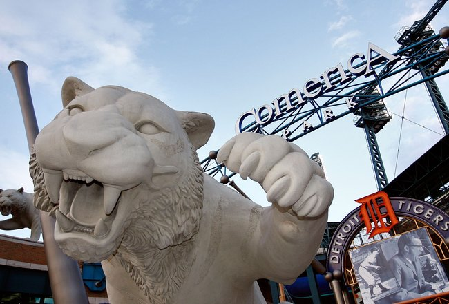DETROIT - OCTOBER 21:  A tiger statue is seen outside of Comerica Park before Game One of 2006 World Series between the Detroit Tigers and the St. Louis Cardinals October 21, 2006 at Comerica Park in Detroit Michigan.  (Photo by Jamie Squire/Getty Images)