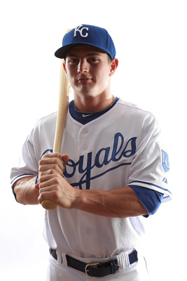 SURPRISE, AZ - FEBRUARY 23:  Johnny Giavotella #73 of the Kansas City Royals poses for a portrait on February 23, 2011 at Suprise Stadium in Surprise, Arizona..  (Photo by Jonathan Ferrey/Getty Images)