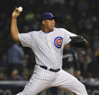 CHICAGO, IL - JUNE 15:  Carlos Zambrano # 38 of the Chicago Cubs pitches against the Milwaukee Brewers on June 15, 2011 at Wrigley Field in Chicago, Illinois.  (Photo by David Banks/Getty Images)