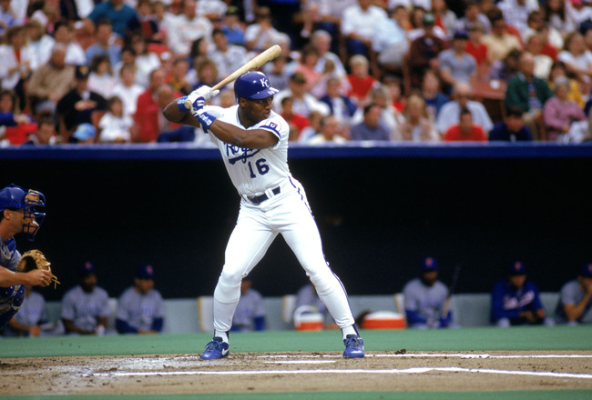 KANSAS CITY, MO - 1990:  Bo Jackson #16 of the Kansas City Royals stands ready at the plate during a game in the 1990 season at Royals Stadium in Kansas City, Missouri.  (Photo by Jonathan Daniel/Getty Images)