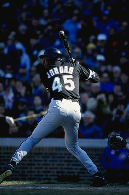 CHICAGO, IL - APRIL 7:  Michael Jordan #45 of the Chicago White Sox bats during a spring training game against the Chicago Cubs on April 7, 1994 at Wrigley Field in Chicago, Illinois.  (Photo by Jonathan Daniel/Getty Images)