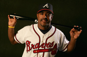 KISSIMMEE, FL - FEBRUARY 28:  Brian Jordan #33 of the Atlanta Braves poses during photo day at Cracker Jack Stadium on February 28, 2005 in Kissimmee, Florida.  (Photo by Doug Pensinger/Getty Images)