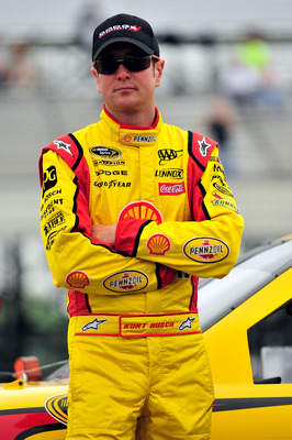 LONG POND, PA - JUNE 11:  Kurt Busch, driver of the #22 Shell/Pennzoil Dodge, looks on during qualifying for the NASCAR Sprint Cup Series 5-Hour Energy 500 at Pocono Raceway on June 11, 2011 in Long Pond, Pennsylvania.  (Photo by Jason Smith/Getty Images