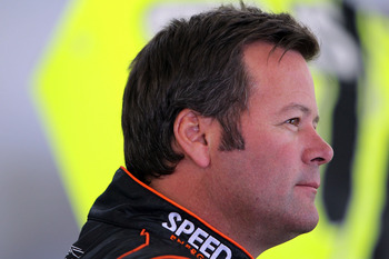 LAS VEGAS, NV - MARCH 04:  Robby Gordon, driver of the #7 Speed Energy Dodge, stands in the garage during practice for the NASCAR Sprint Cup Series Kobalt Tools 400 at Las Vegas Motor Speedway on March 4, 2011 in Las Vegas, Nevada.  (Photo by Jonathan Fer