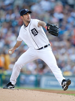 DETROIT, MI - JUNE 14: Justin Verlander #35 of the Detroit Tigers  throws a first inning pitch while playing the Cleveland Indians at Comerica Park on June 14, 2011 in Detroit, Michigan. Detroit won the game 4-0. (Photo by Gregory Shamus/Getty Images)