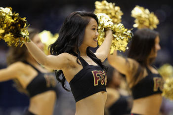SAN ANTONIO, TX - MARCH 25:  Florida State Seminoles cheerleaders perform during the southwest regional of the 2011 NCAA men's basketball tournament against the Virginia Commonwealth Rams at the Alamodome on March 25, 2011 in San Antonio, Texas. Virginia