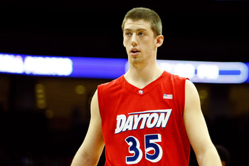 NEWARK, NJ - DECEMBER 22:  Matt Kavanaugh #35 of the Dayton Flyers looks on against the Seton Hall Pirates at Prudential Center on December 22, 2010 in Newark, New Jersey.  (Photo by Chris Chambers/Getty Images)