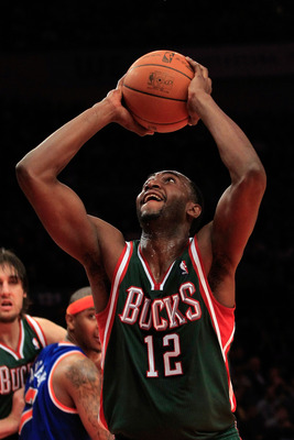 NEW YORK, NY - FEBRUARY 23:  Luc Mbah a Moute #12 of the Milwaukee Bucks goes up to the basket against the New York Knicks at Madison Square Garden on February 23, 2011 in New York City. NOTE TO USER: User expressly acknowledges and agrees that, by downlo