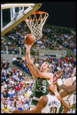 1990:  Boston Celtics forward Larry Bird shoots a layup during game against the Golden State Warriors at the Oakland Colesium Arena in Oakland, California. Mandatory Credit: Otto Greule Jr.  /Allsport