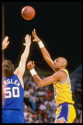 Mar 1988:  Center Kareem Abdul-Jabbar of the Los Angeles Lakers in action during a game against the New Jersey Nets at The Forum in Inglewood, California. Mandatory Credit: Mike Powell  /Allsport
