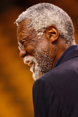 BOSTON - JUNE 17:  NBA legend Bill Russell smiles before Game Six of the 2008 NBA Finals between the Los Angeles Lakers and the Boston Celtics on June 17, 2008 at TD Banknorth Garden in Boston, Massachusetts. NOTE TO USER: User expressly acknowledges and