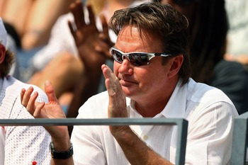 NEW YORK - AUGUST 30:  Andy Roddick's coach Jimmy Connors watches as he takes on Jose Acasuso of Argentina during day four of the 2007 U.S. Open at the Billie Jean King National Tennis Center on August 30, 2007 in the Flushing neighborhood of the Queens b