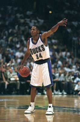 8 May 2001:  Ray Allen #34 of the Milwaukee Bucks calls out the play during the NBA Playoffs Round Two game against the Charlotte Hornets at Bradley Center in Milwaukee, Wisconsin. The Bucks defeated the Hornets 91-90.  NOTE TO USER: It is expressly under