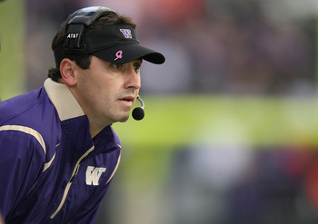 SEATTLE - OCTOBER 24:  Head coach Steve Sarkisian of the Washington Huskies looks on from the sidelines during the game against the Oregon Ducks on October 24, 2009 at Husky Stadium in Seattle, Washington. The Ducks defeated the Huskies 43-19. (Photo by O