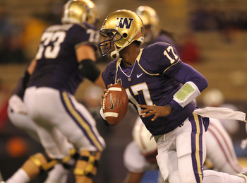 SEATTLE - OCTOBER 30:  Quarterback Keith Price #17 of the Washington Huskies rolls out against the Stanford Cardinal on October 30, 2010 at Husky Stadium in Seattle, Washington. Stanford won 41-0. (Photo by Otto Greule Jr/Getty Images)