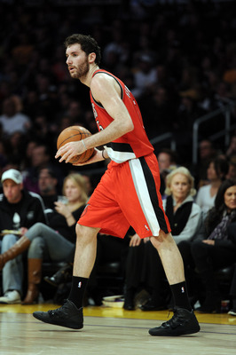 LOS ANGELES, CA - MARCH 20:  Rudy Fernandez #5 of the Portland Trail Blazers dribbles against the Los Angeles Lakers at the Staples Center on March 20, 2011 in Los Angeles, California.  NOTE TO USER: User expressly acknowledges and agrees that, by downloa