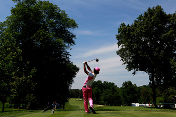 BETHESDA, MD - JUNE 15:  Ryo Ishikawa of Japan  hits a shot during a practice round prior to the start of the 111th U.S. Open at Congressional Country Club on June 15, 2011 in Bethesda, Maryland.  (Photo by Chris Trotman/Getty Images)