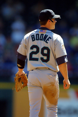 26 Sep 2001:  Bret Boone #29 of the Seattle Mariners plays against the Texas Rangers at The Ballpark in Arlington, Texas.  Major League Baseball is currently wearing the American flag on the back of the uniform in honor of the victims of the terrorists at