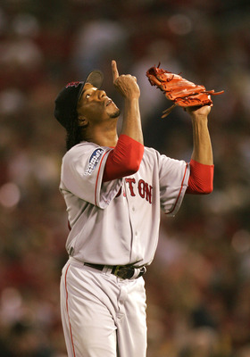 ST LOUIS - OCTOBER 26:  Pedro Martinez #45 of the Boston Red Sox points the sky after being taken out of game three of the World Series against the St. Louis Cardinals on October 26, 2004 at Busch Stadium in St. Louis, Missouri. (Photo by Al Bello/Getty I