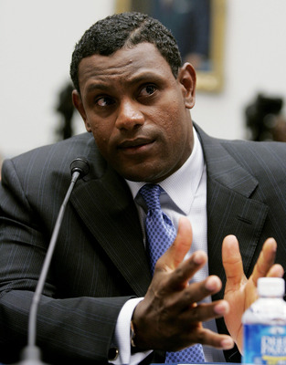 WASHINGTON - MARCH 17:  Baltimore Oriole Sammy Sosa testifies during a House Committe session investigating Major League Baseball's effort to eradicate steroid use on Capitol Hill March 17, 2005 in Washington, DC. Major League Baseball (MLB) Commissioner