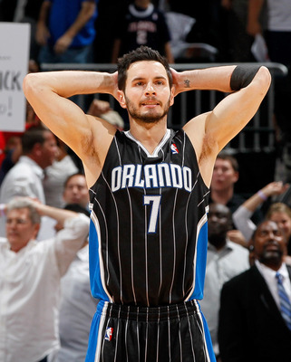 ATLANTA, GA - APRIL 28:  J.J. Redick #7 of the Orlando Magic reacts after missing a game-tying three-point basket in the final seconds against the Atlanta Hawks during Game Six of the Eastern Conference Quarterfinals in the 2011 NBA Playoffs at Philips Ar
