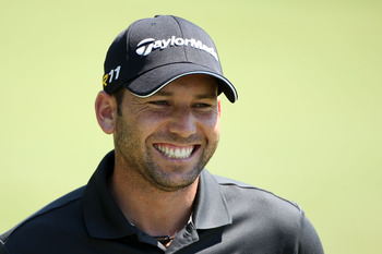 BETHESDA, MD - JUNE 15:  Sergio Garcia of Spain laughs as he walks across a green during a practice round prior to the start of the 111th U.S. Open at Congressional Country Club on June 15, 2011 in Bethesda, Maryland.  (Photo by Andrew Redington/Getty Ima